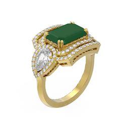 8.23 ctw Emerald & Diamond Ring 18K Yellow Gold - REF-627Y3X