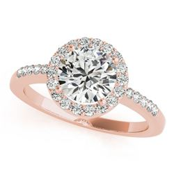 0.5 ctw Certified VS/SI Diamond Halo Ring 18k Rose Gold - REF-57A3N