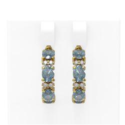 7.61 ctw Aquamarine & Diamond Earrings 18K Yellow Gold - REF-143A3N