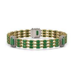29.64 ctw Emerald & Diamond Bracelet 14K Yellow Gold - REF-418G2W