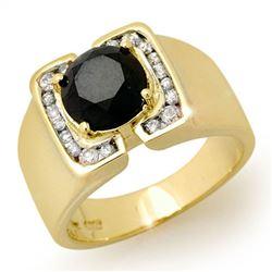2.33 ctw VS Certified Black & White Diamond Men's Ring 10k Yellow Gold - REF-107N3F