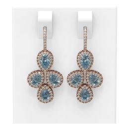 13.06 ctw Aquamarine & Diamond Earrings 18K Rose Gold - REF-490R9K