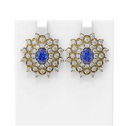 8.88 ctw Tanzanite & Diamond Earrings 18K Yellow Gold - REF-345N5F