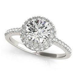 1.6 ctw Certified VS/SI Diamond Halo Ring 18k White Gold - REF-291K8Y