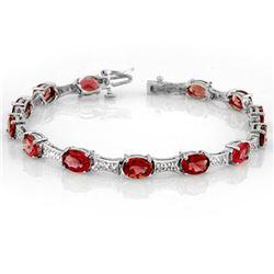 10.04 ctw Pink Tourmaline & Diamond Bracelet 10k White Gold - REF-123W5H