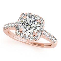 1.1 ctw Certified VS/SI Diamond Halo Ring 18k Rose Gold - REF-111H3R