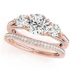 2.05 ctw VS/SI Diamond 3 Stone 2pc Wedding Set 14k Rose Gold - REF-335H3R