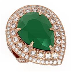 16.29 ctw Certified Emerald & Diamond Victorian Ring 14K Rose Gold - REF-581W8H
