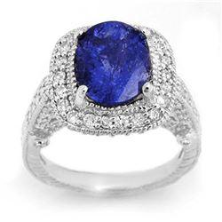 5.40 ctw Tanzanite & Diamond Ring 14k White Gold - REF-224F8M