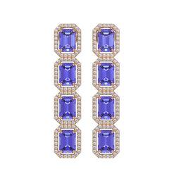 11.93 ctw Tanzanite & Diamond Micro Pave Halo Earrings 10k Rose Gold - REF-290X2A