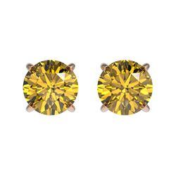 1.04 ctw Certified Intense Yellow Diamond Stud Earrings 10k Rose Gold - REF-95A3N