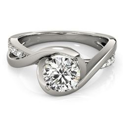 0.9 ctw Certified VS/SI Diamond Ring 18k White Gold - REF-155N2F