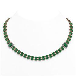 41.63 ctw Emerald & Diamond Necklace 14K Rose Gold - REF-527R3K