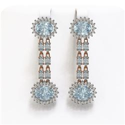 10.4 ctw Aquamarine & Diamond Earrings 14K Rose Gold - REF-236X4A