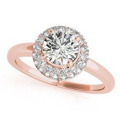 1 ctw Certified VS/SI Diamond Halo Ring 18k Rose Gold - REF-139N2F
