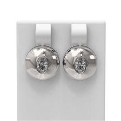 1.04 ctw Oval Diamond Earrings 18K White Gold - REF-225A3N