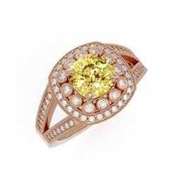 2.09 ctw Canary Citrine & Diamond Victorian Ring 14K Rose Gold - REF-83K6Y
