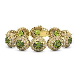 44.22 ctw Tourmaline & Diamond Victorian Bracelet 14K Yellow Gold - REF-1342M4G
