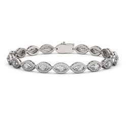 8.13 ctw Marquise Cut Diamond Micro Pave Bracelet 18K White Gold - REF-684W3H