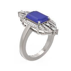 6.52 ctw Sapphire & Diamond Ring 18K White Gold - REF-178F2M