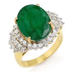 7.56 ctw Emerald & Diamond Ring 14k Yellow Gold - REF-163F6M