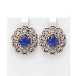 12.21 ctw Tanzanite & Diamond Earrings 18K Rose Gold - REF-518Y2X
