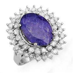 8.78 ctw Tanzanite & Diamond Ring 18k White Gold - REF-401Y5X