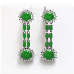 10.72 ctw Jade & Diamond Earrings 14K White Gold - REF-174A2N