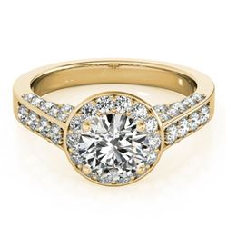 1.5 ctw Certified VS/SI Diamond Halo Ring 18k Yellow Gold - REF-181R5K