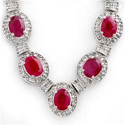 39.70 ctw Ruby & Diamond Necklace 14k White Gold - REF-800X2A