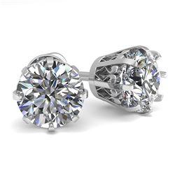 2.0 ctw VS/SI Diamond Stud Earrings Vintage 18k White Gold - REF-466R4K