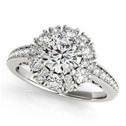 2.16 ctw Certified VS/SI Diamond Halo Ring 18k White Gold - REF-328Y2X
