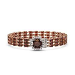 25.08 ctw Garnet & Diamond Bracelet 14K Rose Gold - REF-281R8K