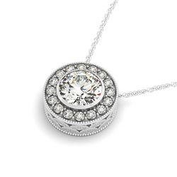 1 ctw Certified SI Diamond Solitaire Halo Necklace 14k White Gold - REF-170K2Y