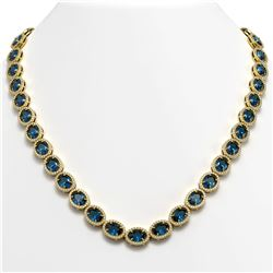 55.41 ctw London Topaz & Diamond Micro Pave Halo Necklace 10k Yellow Gold - REF-663A6N
