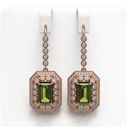 13.4 ctw Tourmaline & Diamond Victorian Earrings 14K Rose Gold - REF-375H3R