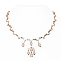 7 ctw Diamond Necklace 18K Rose Gold - REF-804H2R