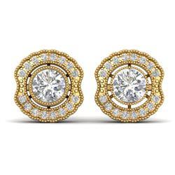1.5 ctw Certified VS/SI Diamond Art Deco Stud Earrings 14k Yellow Gold - REF-245Y5X