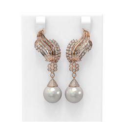 3.73 ctw Diamond & Pearl Earrings 18K Rose Gold - REF-426G8W