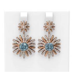 5.63 ctw Aquamarine & Diamond Earrings 18K Rose Gold - REF-253G8W