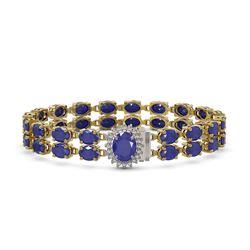 30.12 ctw Sapphire & Diamond Bracelet 14K Yellow Gold - REF-336X4A