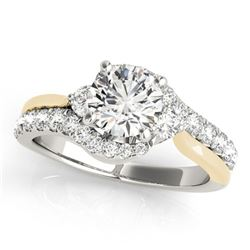 1.1 ctw Certified VS/SI Diamond Bypass Solitaire Ring 18k 2Tone Gold - REF-109R3K
