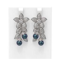 3.05 ctw Diamond & Pearl Earrings 18K White Gold - REF-328G2W