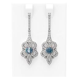 2.74 ctw Intense Blue Diamond Earrings 18K White Gold - REF-258N2F