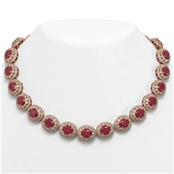 111.75 ctw Certified Ruby & Diamond Victorian Necklace 14K Rose Gold - REF-3015X5A