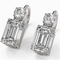 1.8 ctw Emerald Cut Diamond Designer Earrings 18K White Gold - REF-364G3W