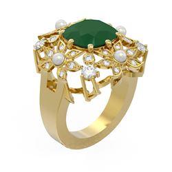 6.16 ctw Emerald & Diamond Ring 18K Yellow Gold - REF-254G5W