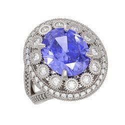 6.96 ctw Certified Tanzanite & Diamond Victorian Ring 14K White Gold - REF-302G4W