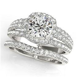 2.19 ctw Certified VS/SI Diamond 2pc Wedding Set Halo 14k White Gold - REF-354R5K