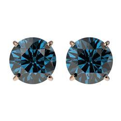 2 ctw Certified Intense Blue Diamond Stud Earrings 10k Rose Gold - REF-181X6A